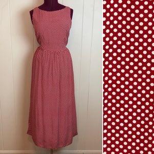 Vintage 80s 90s Polka Dot Pin Up Rockabilly Dress